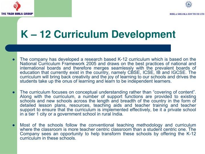 K – 12 Curriculum Development