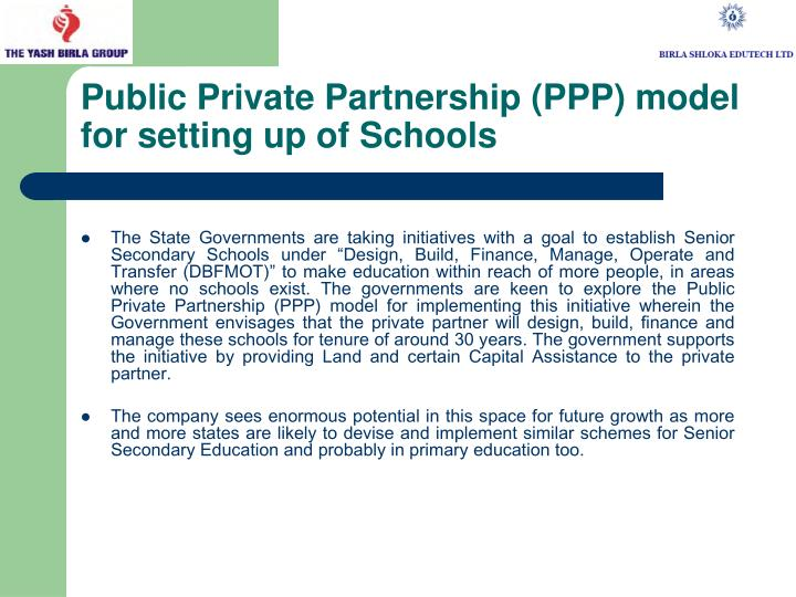 Public Private Partnership (PPP) model for setting up of Schools