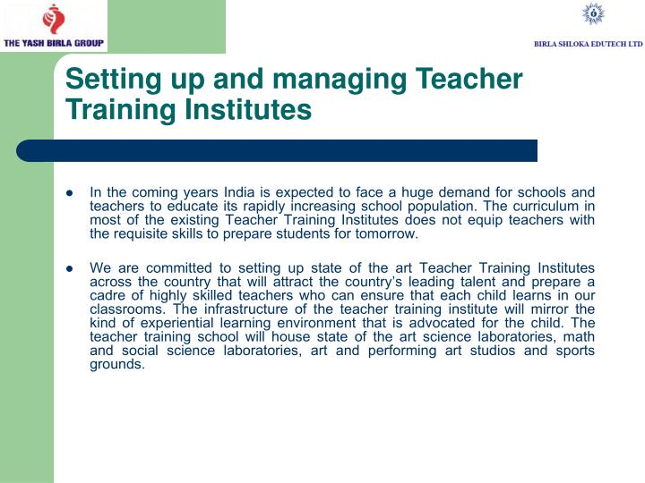 Setting up and managing Teacher Training Institutes