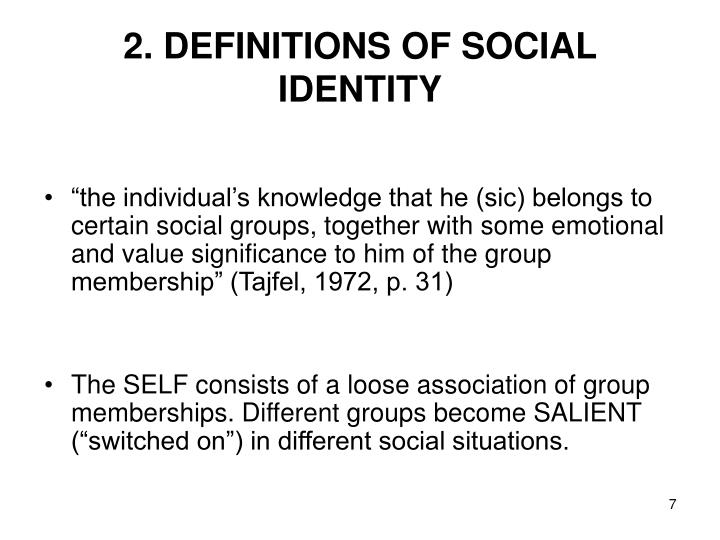 2. DEFINITIONS OF SOCIAL IDENTITY