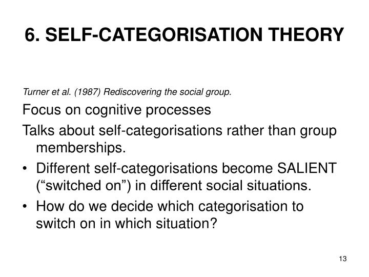 6. SELF-CATEGORISATION THEORY