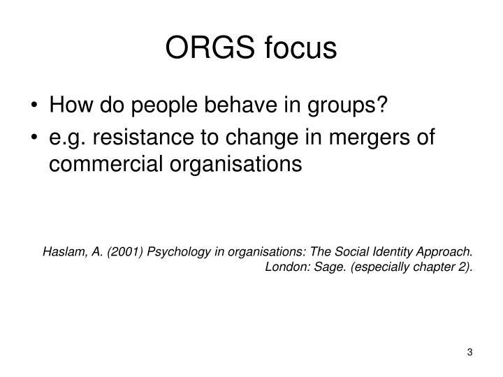 ORGS focus