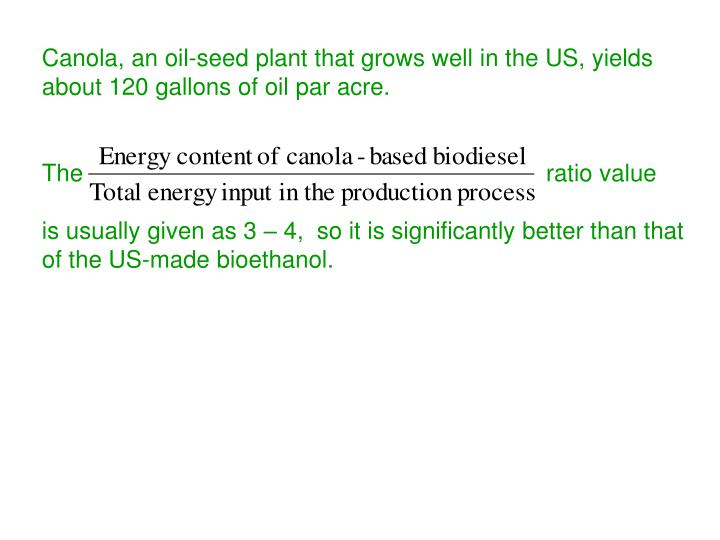 Canola, an oil-seed plant that grows well in the US, yields