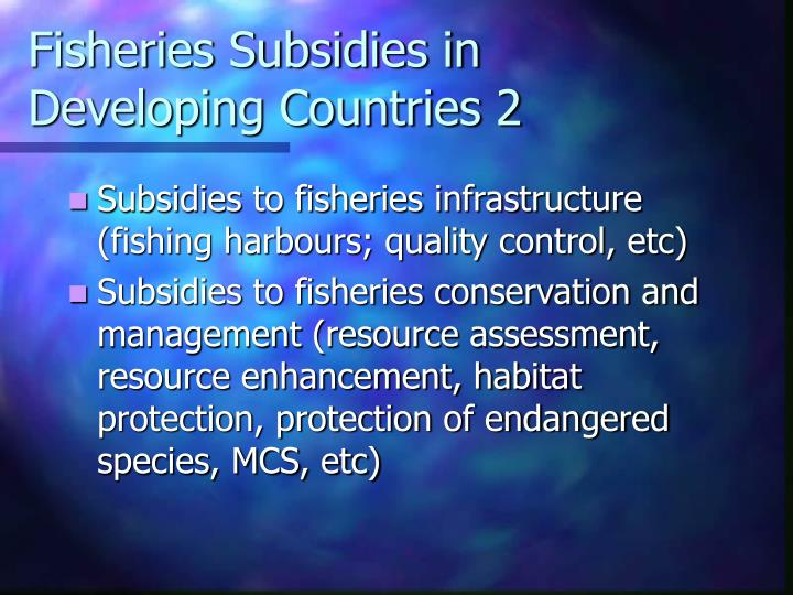 Fisheries Subsidies in Developing Countries 2