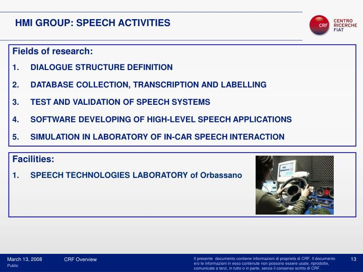 HMI GROUP: SPEECH ACTIVITIES