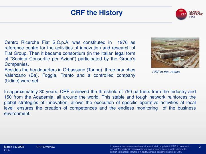 CRF the History