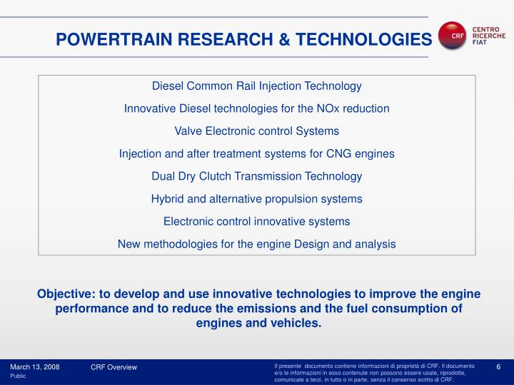 POWERTRAIN RESEARCH & TECHNOLOGIES