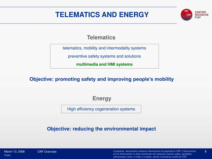 TELEMATICS AND ENERGY