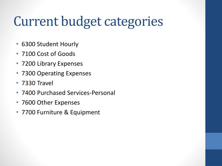 Current budget categories