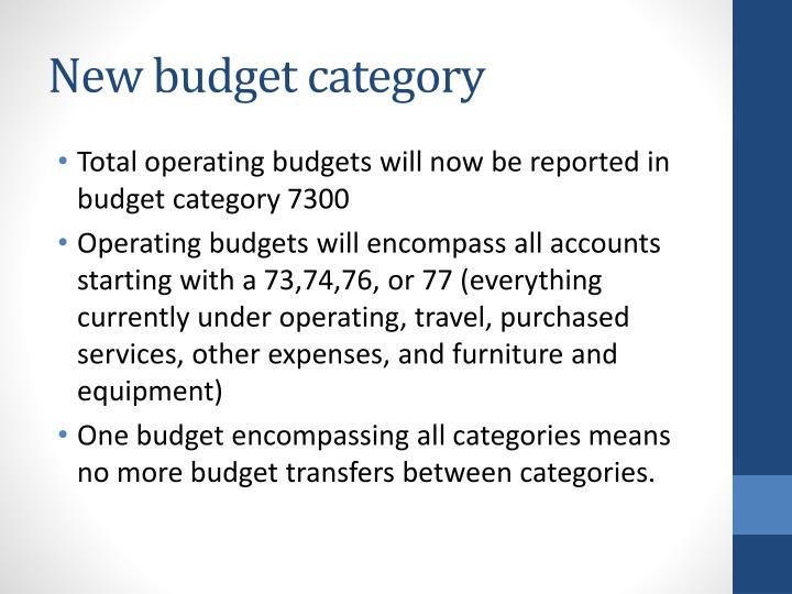 New budget category