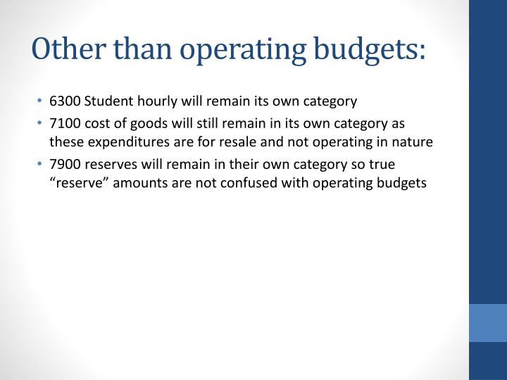 Other than operating budgets: