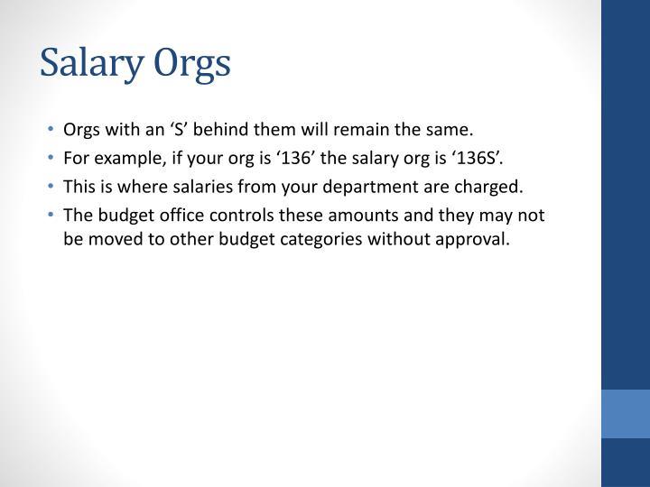Salary Orgs