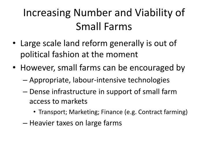 Increasing Number and Viability of Small Farms