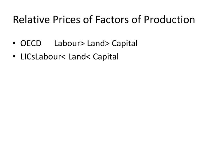 Relative Prices of Factors of Production