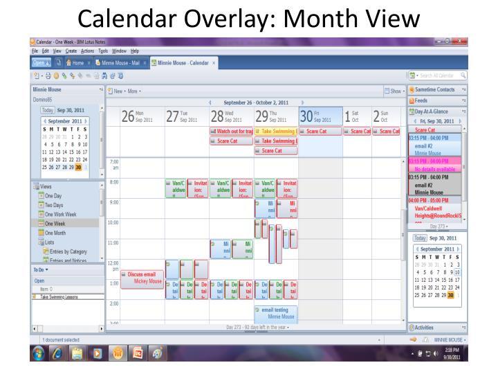 Calendar Overlay: Month View