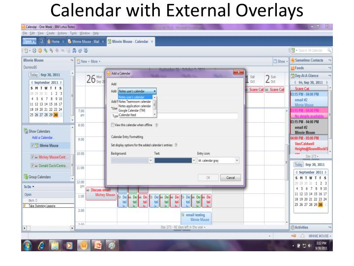 Calendar with External Overlays