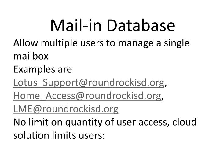 Mail-in Database