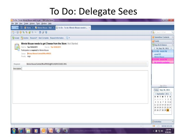 To Do: Delegate Sees