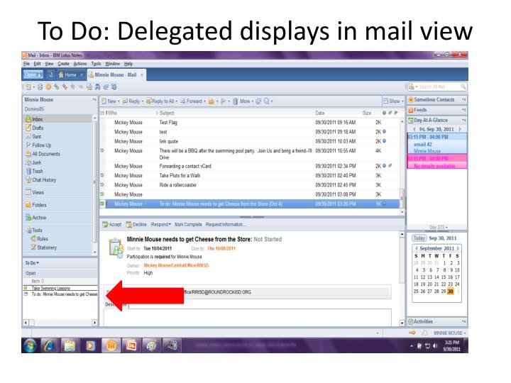 To Do: Delegated displays in mail view