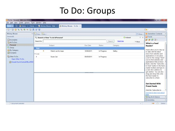 To Do: Groups