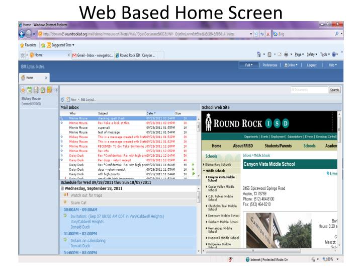 Web Based Home Screen