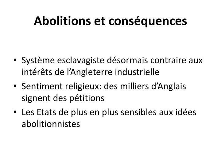 Abolitions et conséquences