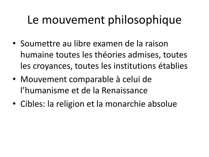 Le mouvement philosophique