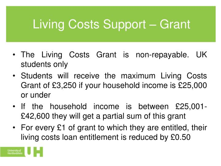 Living Costs Support – Grant