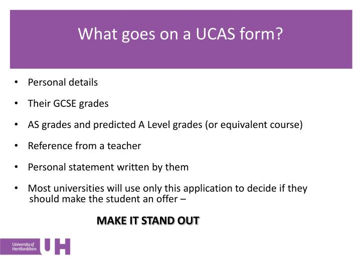 What goes on a UCAS form?