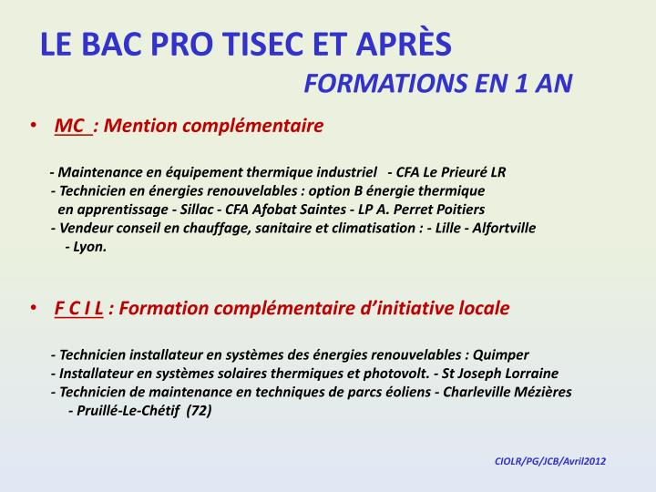 Le bac pro tisec et apr s formations en 1 an