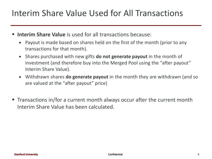 Interim Share Value Used for All Transactions