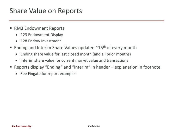 Share Value on Reports