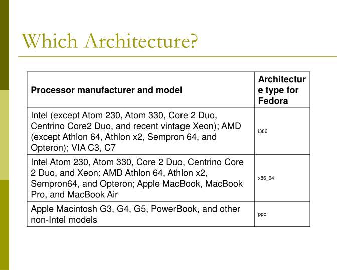 Which Architecture?