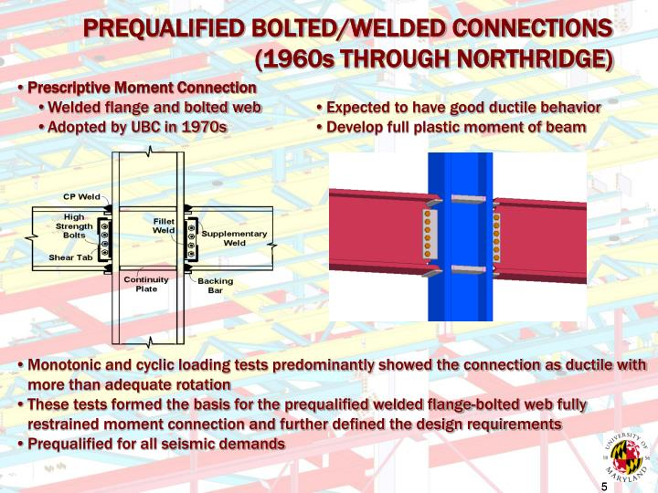 PREQUALIFIED BOLTED/WELDED CONNECTIONS