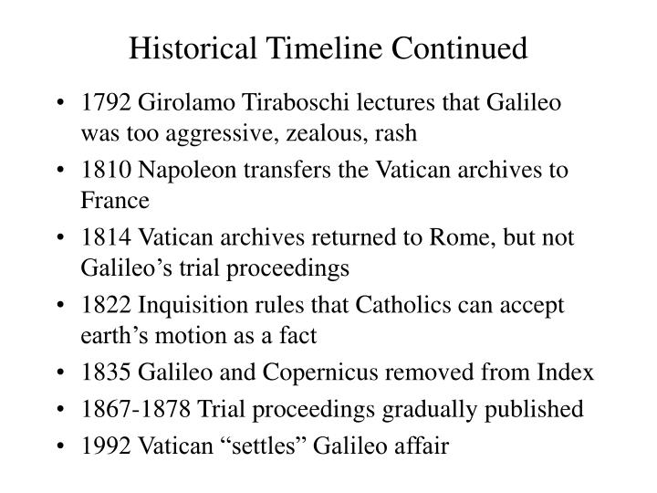 Historical Timeline Continued