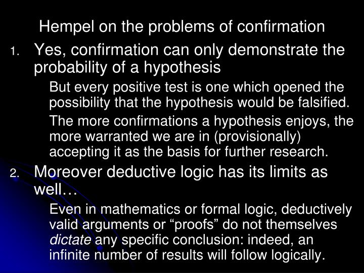 Hempel on the problems of confirmation