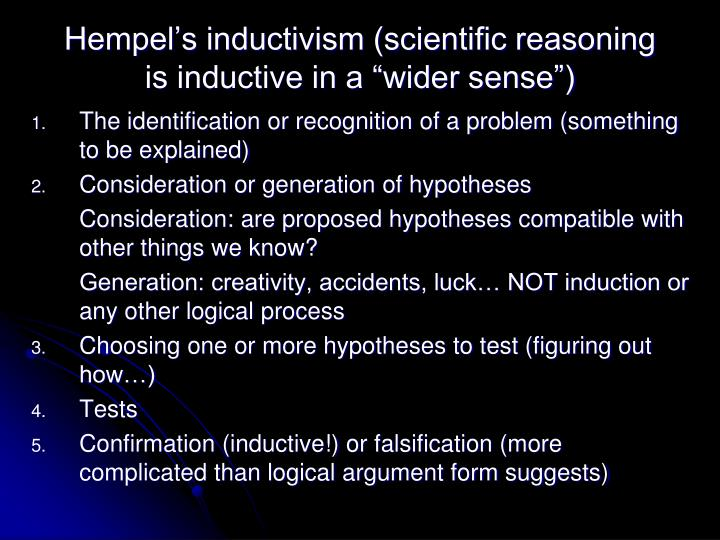 "Hempel's inductivism (scientific reasoning is inductive in a ""wider sense"")"