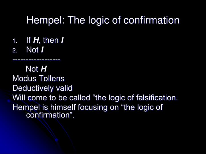 Hempel: The logic of confirmation