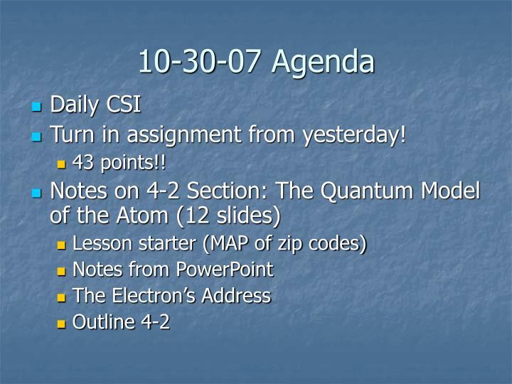 10-30-07 Agenda