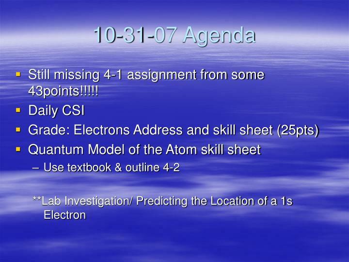 10-31-07 Agenda