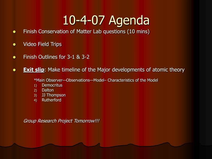10-4-07 Agenda