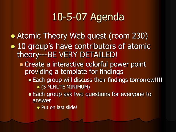 10-5-07 Agenda