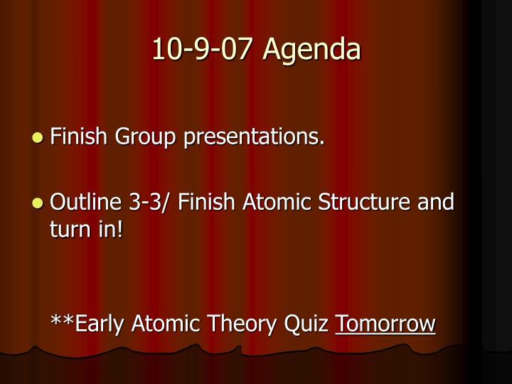 10-9-07 Agenda