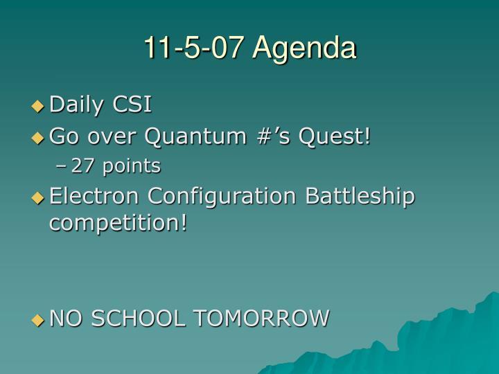 11-5-07 Agenda