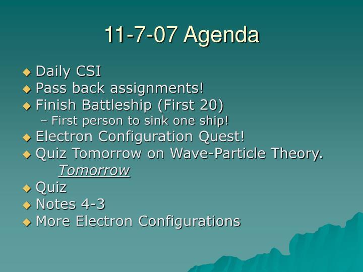 11-7-07 Agenda