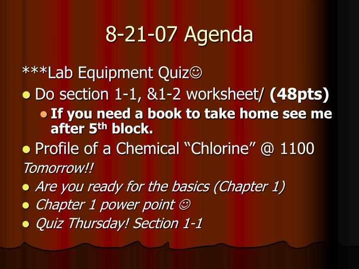 8-21-07 Agenda