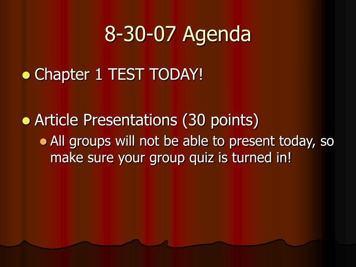 8-30-07 Agenda