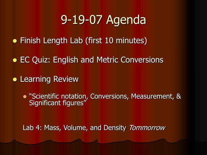 9-19-07 Agenda
