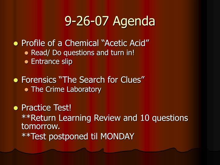 9-26-07 Agenda