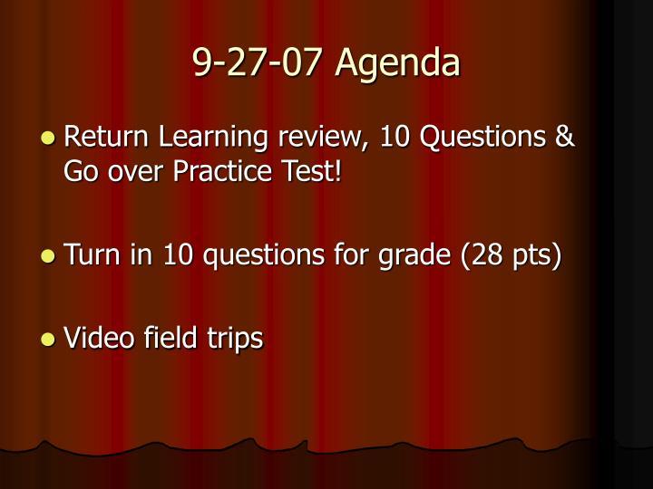 9-27-07 Agenda